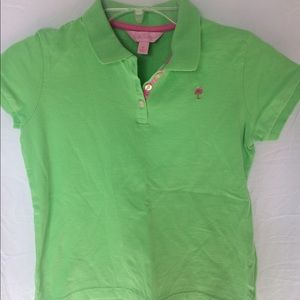 Lilly Pulitzer girls 12 polo collared shirt tree